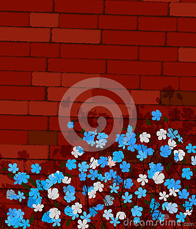 Blue flowers on a wall