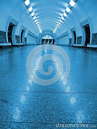 blue fluorescent tunnel, nobody subway