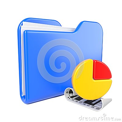 Free Blue Folder With Infograph Icon. Royalty Free Stock Photos - 28428628