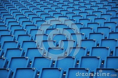 Blue folding plastic seats