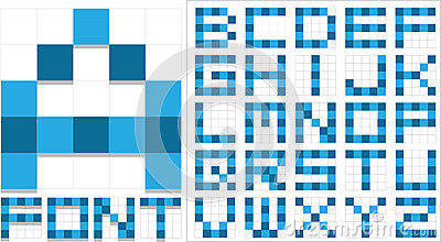 Blue  font collection made of squares