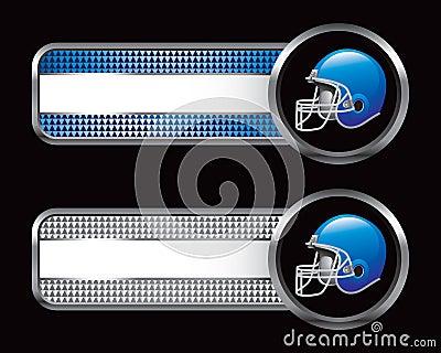 Blue football helmet on banners