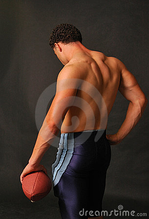 Blue football muscular back