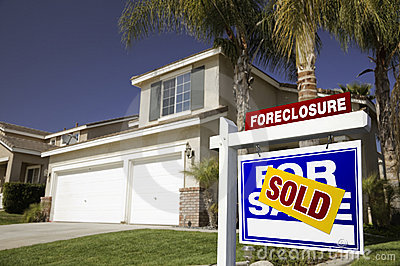 Real Estate Foreclosures on Blue Foreclosure For Sale Real Estate Sign And Hou Stock Photography