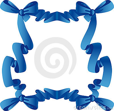 Blue frame with bow