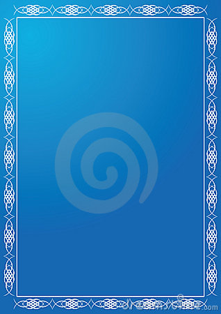 Blue frame with white tracery - vector