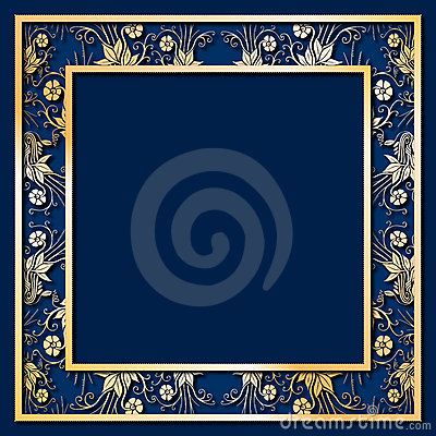 Free Blue Frame With Golden Flowers Stock Photo - 14174590