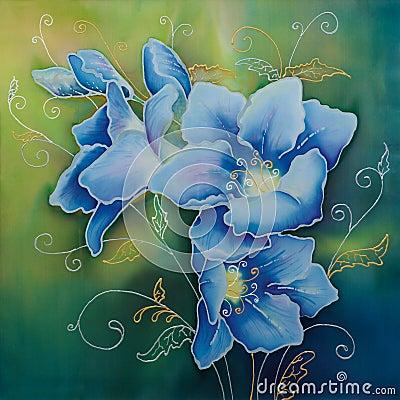 Blue freesia (batic)