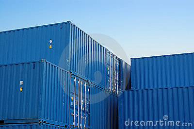 Blue freight containers