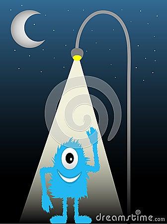 Blue Furry One Eyed Creature Street Lamp Waving