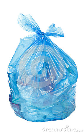 Blue garbage bag