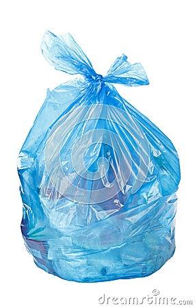 Blue garbage bag