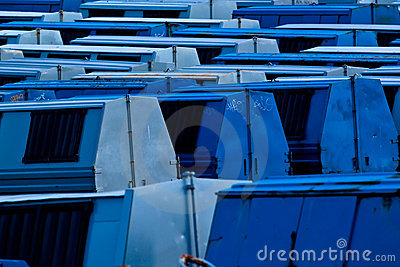 Blue garbage containers