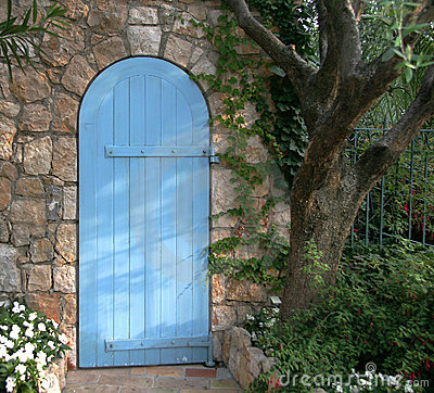 Free Blue Garden Door, France Stock Photography - 8442332