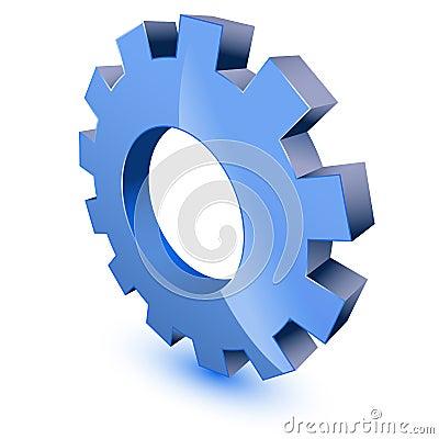 Blue gear wheel symbol