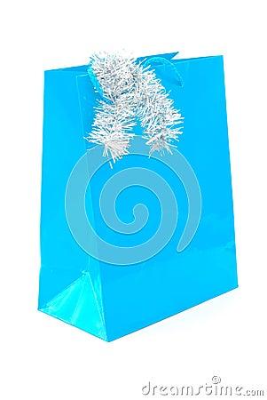 Blue gift bag for Christmas