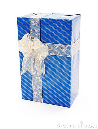 Blue gift with big bow