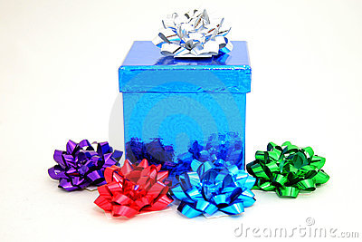 Blue gift and bows