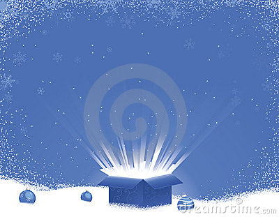 Blue Gift Box Explosion Winter Scene