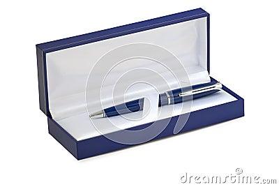 Blue gift box. Pen inside.