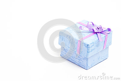 Blue gift box with purple ribbon