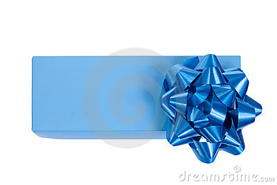 Blue gift box with a wrap bow isolated