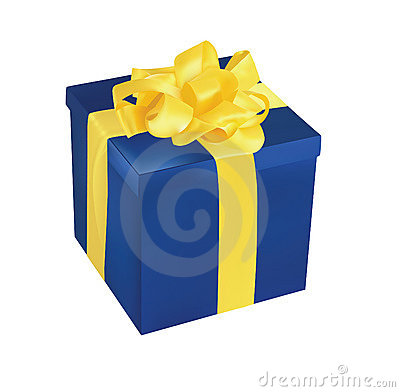 Blue Gift Box With Yellow Ribbon