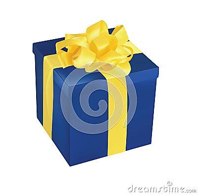 Blue Gift Box With Yellow Ribbon