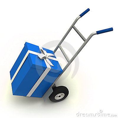 Blue gift delivery