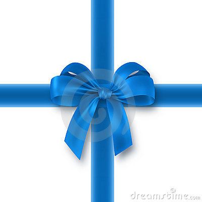 Blue gift, ribbon, bow