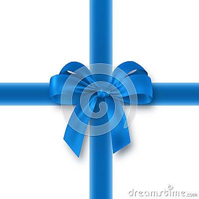 Blue gift, ribbon, bow