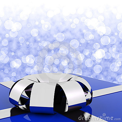 Blue Giftbox With Bokeh Background
