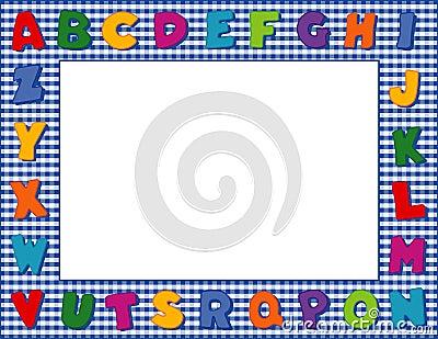 Blue Gingham Alphabet Frame