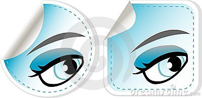 Blue girl eyes sticker set. abstract label vector