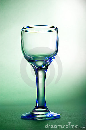 Blue glares on wine glass