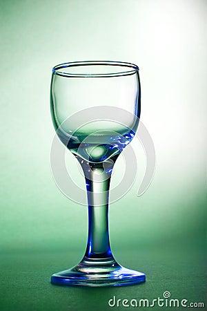 Blue glares on wine glass