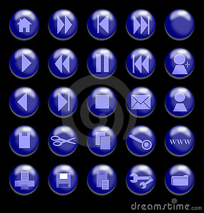 Blue Glass Buttons on a Black Background