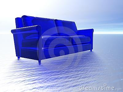 Blue glass couch and water