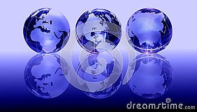 Blue glass globes