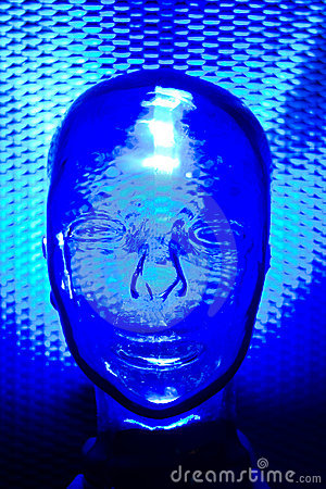 Blue glass human head
