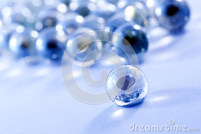Blue glass marbles balls