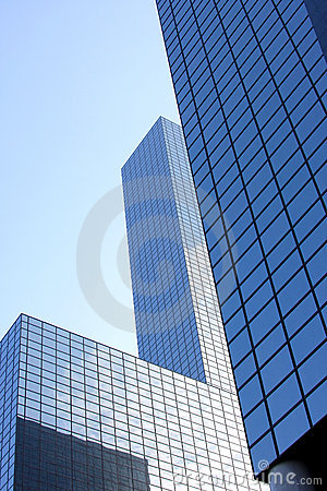 Blue glass skyscrapers in Rotterdam, Holland