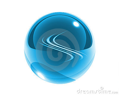 Blue glass sphere with blue waves