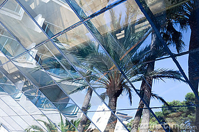 Blue glass transparent wall