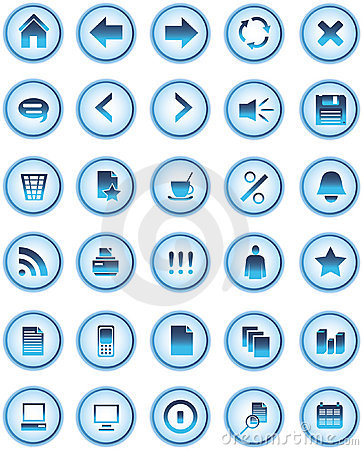 Blue Glass web icons, buttons