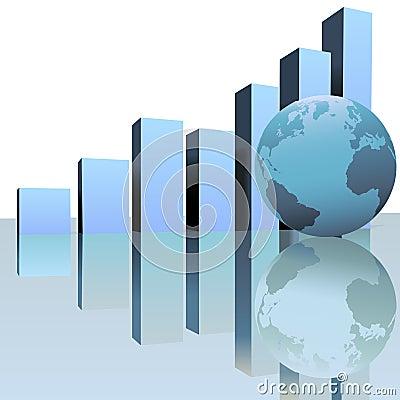 Free Blue Global Profit Growth Charts With World Globe Royalty Free Stock Photo - 4462095
