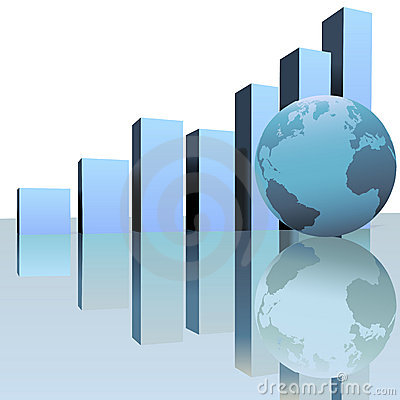 Blue Global Profit Growth Charts with World Globe