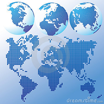 Blue global Set with a map