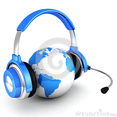 Free Blue Globe Earth With Headphones And Microphone Stock Images - 27795344