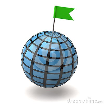 Blue globe and flag pin